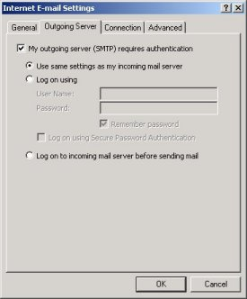 Outlook tick My outgoing server requires authentication